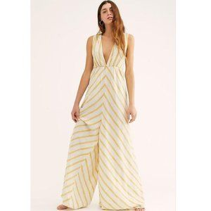 Free People Ivory Yellow Veronica Jumpsuit NWOT